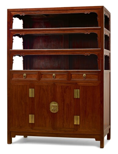 View 3. Thumbnail of Lot 75. A RARE AND LARGE PAIR OF HUANGHUALI SQUARE-CORNER DISPLAY CABINETS, WANLIGUI 17TH CENTURY | 十七世紀 黃花梨萬曆櫃成對.