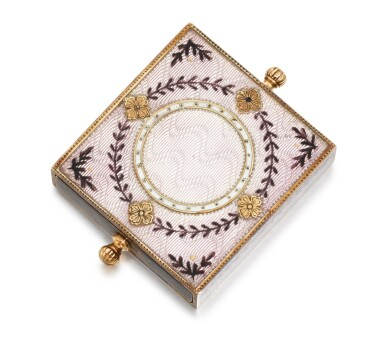 View 1. Thumbnail of Lot 12. A Fabergé silver-gilt, gold and guilloché enamel eraser holder, Moscow, circa 1890.