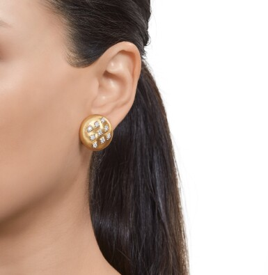 View 4. Thumbnail of Lot 335. Pair of Gold and Diamond Earclips.