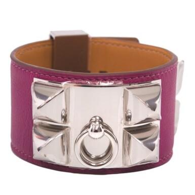 Hermès Tosca Collier de Chien (CDC)  Swift Leather Bracelet with Palladium Hardware Size Small
