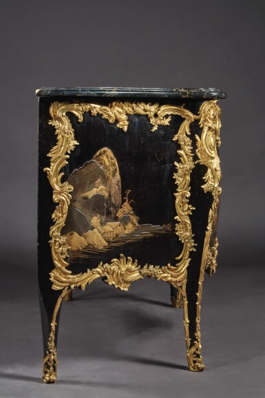 A LOUIS XV GILT BRONZE-MOUNTED JAPANESE LACQUER COMMODE BY DESFORGES, CIRCA 1745