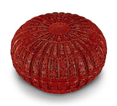 A WELL CARVED CINNABAR LACQUER 'CHRYSANTHEMUM' BOX AND COVER QING DYNASTY, QIANLONG PERIOD | 清乾隆 剔紅花卉紋菊瓣式蓋盒