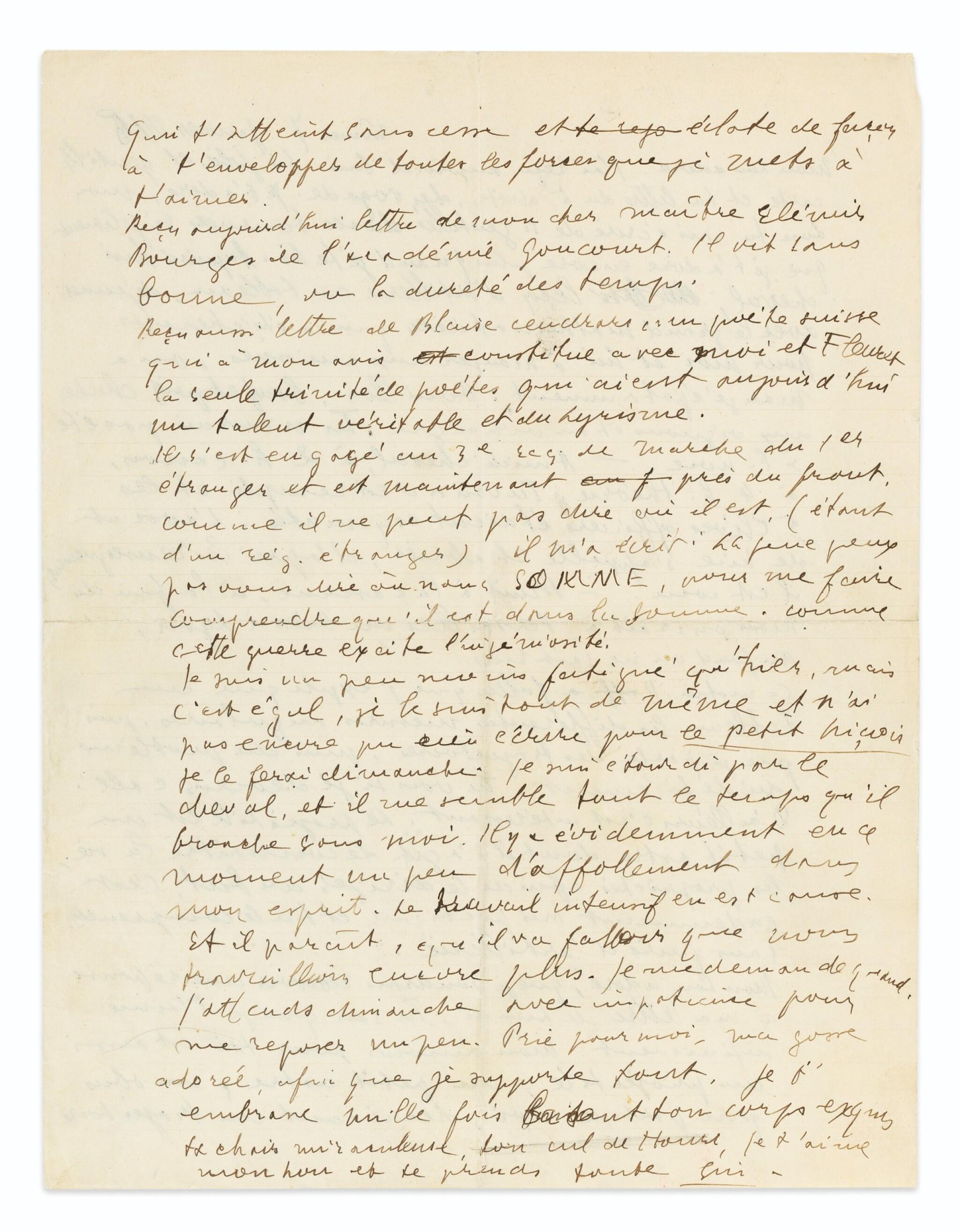 View full screen - View 1 of Lot 196. Lettre à Lou, 7 janvier 1915. 2 p. in-4. Mon amour pour toi est [...] un petit astre.
