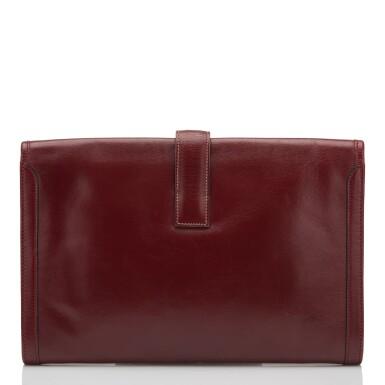 View 4. Thumbnail of Lot 24. Hermès Vintage Rouge H Box Jige Elan Clutch 29cm.