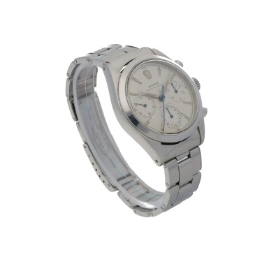 View 3. Thumbnail of Lot 401. ROLEX   'PRE-DAYTONA', REF 6238 STAINLESS STEEL CHRONOGRAPH WRISTWATCH WITH BRACELET CIRCA 1963.
