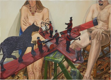 View 1. Thumbnail of Lot 551. PHILIP PEARLSTEIN | TWO MODELS WITH OLD WHIRLY-GIG: WHEN THE WIND BLOWS THE FIGURE WORKS.