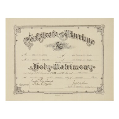 GEORGIA O'KEEFFE AND ALFRED STIEGLITZ'S MARRIAGE CERTIFICATE