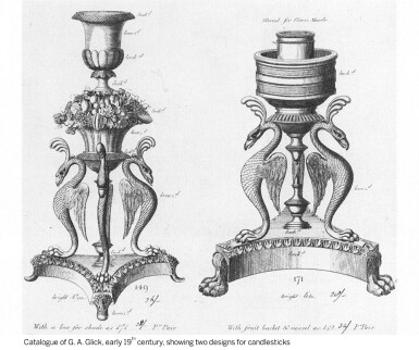 View 4. Thumbnail of Lot 91. A pair of Regency gilt-lacquered and patinated brass storm lights by Cheney London, circa 1810, after a design by G. A. Glick .