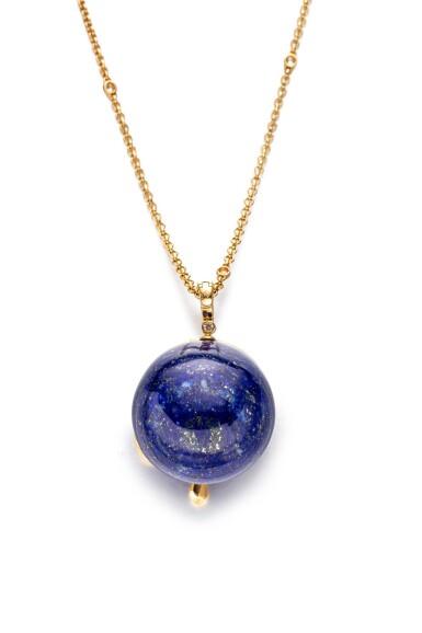 View 2. Thumbnail of Lot 1793. 'Panthère' Gold, Lapis Lazuli and Diamond Pendent Necklace | 卡地亞 | 'Panthère' K金 配 青金石 及 鑽石 項鏈.