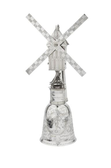 View 1. Thumbnail of Lot 1. A Dutch silver windmill cup, unknown maker's mark, Zierikzee, 1724-1732 | Coupe en forme de moulin à vent en argent, Zierikzee, 1724-1732.