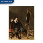 An artist in his studio, seated on a stool, in front of an easel, with a pipe raised to his mouth