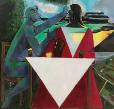 View 1. Thumbnail of Lot 31. JEAN COCTEAU. La Tentation du Christ sur la montagne. 1951. Huile sur isorel. 160 x 185 cm..
