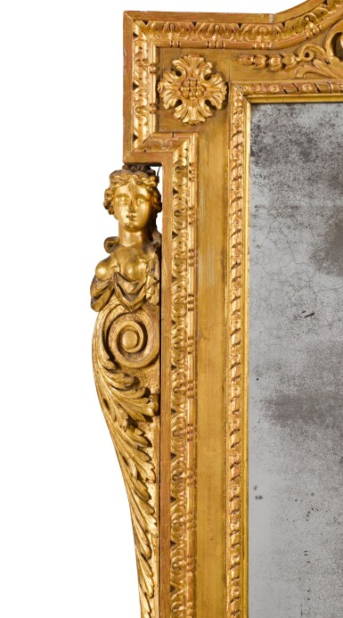 View 3. Thumbnail of Lot 57. A GEORGE II CARVED GILTWOOD MIRROR, CIRCA 1735.