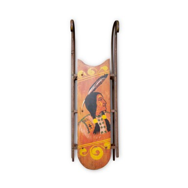 CHILD'S RED AND POLYCHROME PAINT-DECORATED WOOD SLED WITH NATIVE AMERICAN PROFILE, CIRCA 1900-10