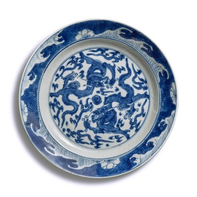 View 4. Thumbnail of Lot 40. A pair of blue and white 'dragon' dishes, Qing dynasty.