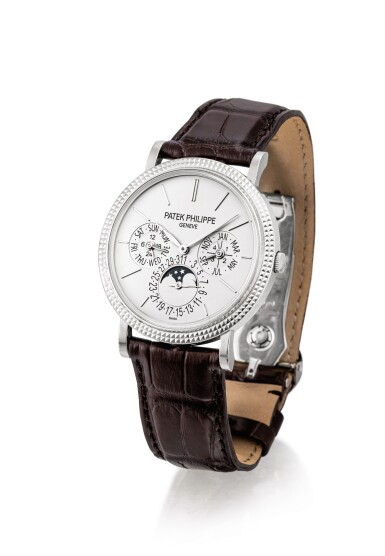 """View 2. Thumbnail of Lot 2043. PATEK PHILIPPE   REFERENCE 5139, A WHITE GOLD PERPETUAL CALENDAR WRISTWATCH WITH MOON PHASES, 24 HOURS AND LEAP YEAR INDICATION, MADE IN 2010   百達翡麗   """"型號5139 白金萬年曆腕錶,備月相、24小時及閏年顯示,機芯編號5513864,錶殼編號4727337,2010年製""""."""
