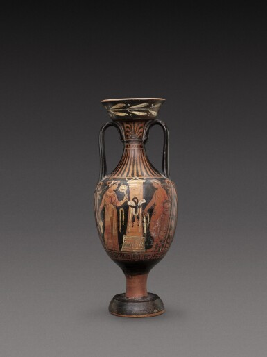 View 1. Thumbnail of Lot 55. An Apulian Red-figured Amphora, circa 350-330 B.C..