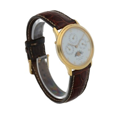 View 3. Thumbnail of Lot 67. Yellow gold perpetual calendar wristwatch with moon phases Circa 1995.