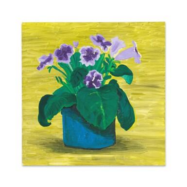 View 1. Thumbnail of Lot 216. Blue Pot of Purple Flowers.