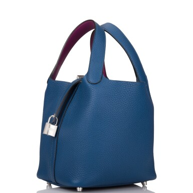 View 5. Thumbnail of Lot 8. Hermès Deep Blue and Anemone Picotin Lock 18cm of Clemence Leather with Palladium Hardware.