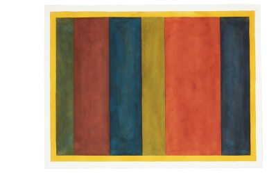 View 2. Thumbnail of Lot 25. Uneven Vertical Bands of Color VII II; Uneven Vertical Bands of Color VI III; Uneven Vertical Bands of Color X IV; Uneven Vertical Bands of Color II [four works].