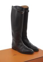 Black leather boots, Bardigiano, Hermès