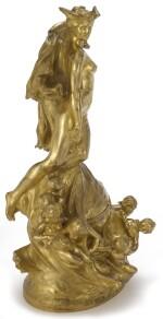 A FRENCH ART NOUVEAU GILT BRONZE PENDULE À CERCLE TOURNANT 'ALLÉGORIE DU TEMPS' BY RAOUL LARCHE, CAST BY SIOT-DECAUVILLE, PARIS, CIRCA 1905