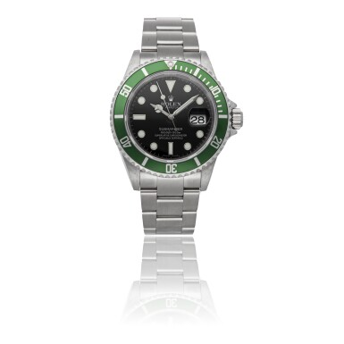 "View 2. Thumbnail of Lot 462. ROLEX | SUBMARINER ""KERMIT"" REF 16610, A STAINLESS STEEL AUTOMATIC CENTER SECONDS WRISTWATCH WITH BRACELET CIRCA 2008    ."