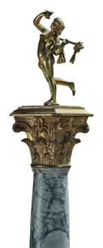 A PAIR OF NEOCLASSICAL GILT BRONZE AND GILT METAL-MOUNTED BARDIGLIO, PINK MARBLE AND BLACK SLATE CORINTHIAN COLUMNS TOPPED BY A PAIR OF GILT BRONZE MAENADS HOLDING THYRSI, 19TH CENTURY