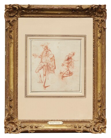 View 2. Thumbnail of Lot 29. JEAN ANTOINE WATTEAU | TWO STUDIES OF ELEGANT MEN, ONE STANDING, THE OTHER KNEELING.