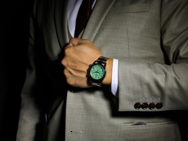 View 4. Thumbnail of Lot 164. ROLEX | COSMOGRAPH DAYTONA, REFERENCE 116509H, A WHITE GOLD CHRONOGRAPH WRISTWATCH WITH GREEN CHRYSOPRASE DIAL AND BRACELET, CIRCA 2015.