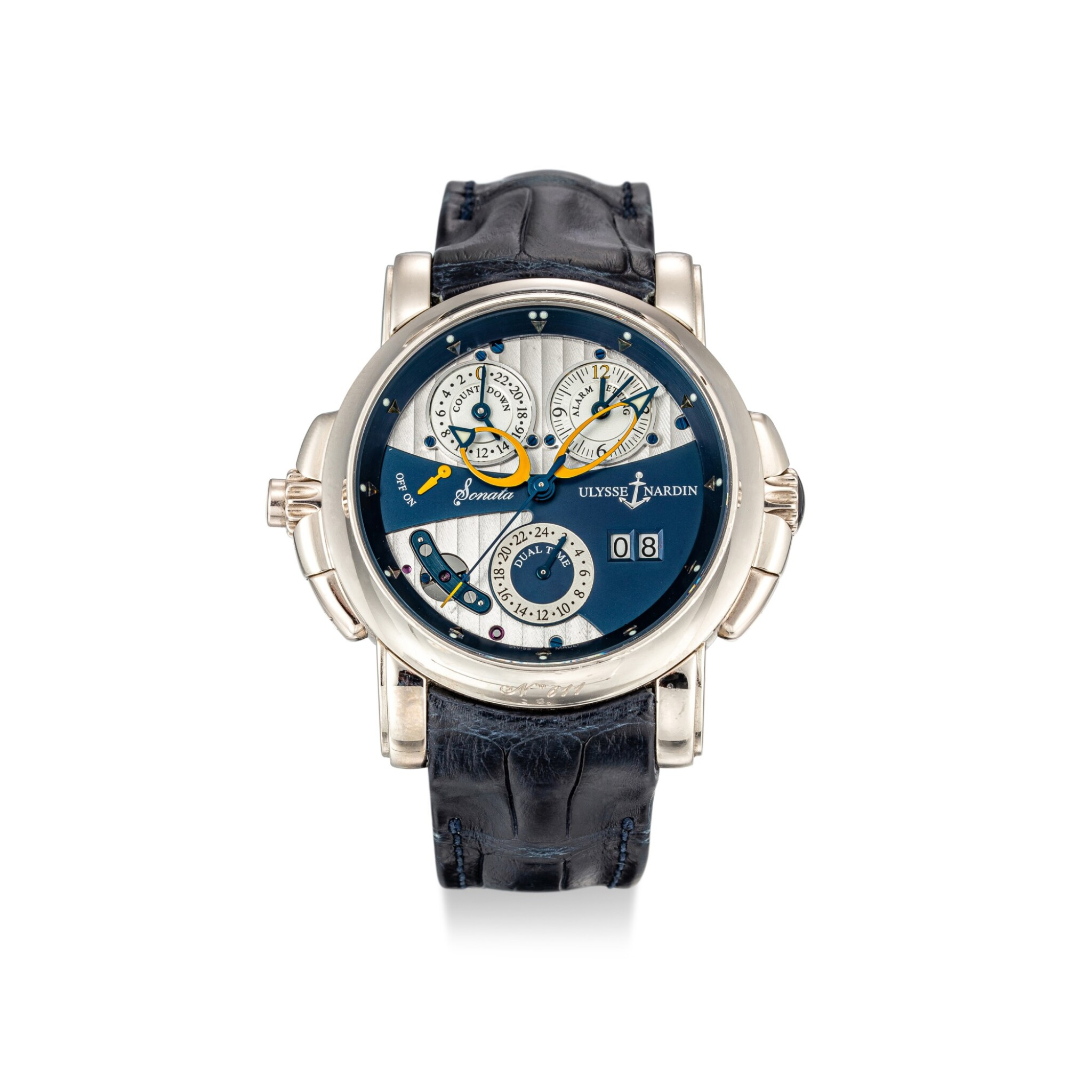 View full screen - View 1 of Lot 1110. ULYSSE NARDIN | SONATA, REFERENCE 670-88 A WHITE GOLD DUAL TIME ZONE WRISTWATCH WITH DATE, ALARM AND COUNTDOWN INDICATION, CIRCA 2007.