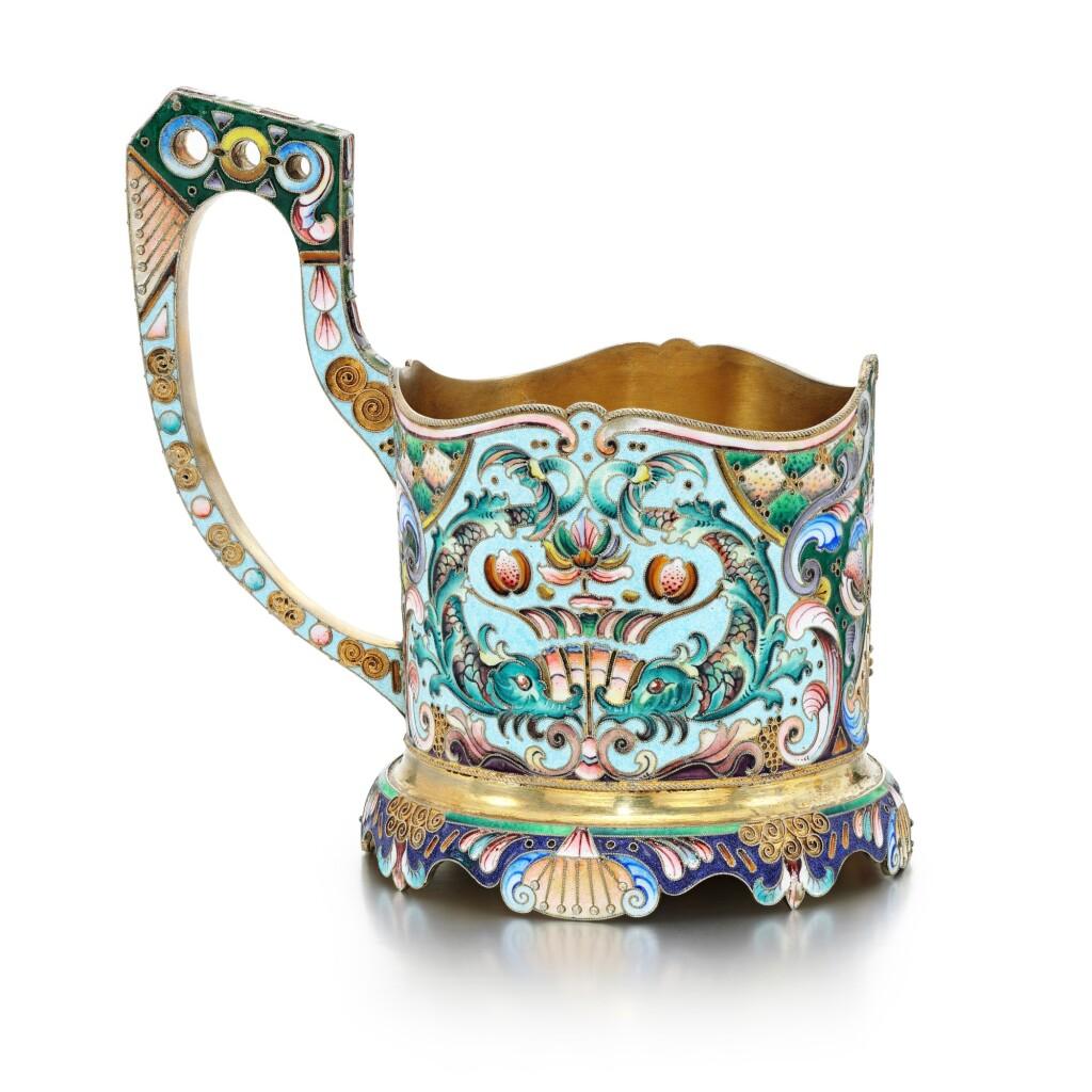 A SILVER-GILT AND CLOISONNÉ ENAMEL TEA GLASS HOLDER, 20TH ARTEL, MOSCOW, 1908-1917