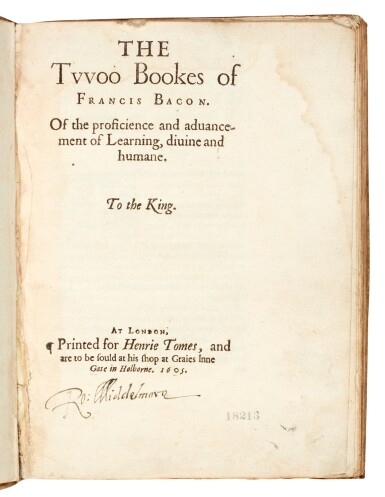 View 1. Thumbnail of Lot 3. BACON   The twoo bookes of the proficience and advancement of learning, London, 1605, vellum.
