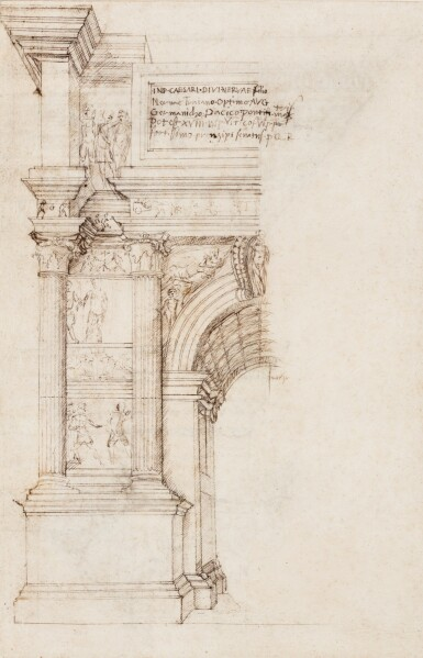 FRANCESCO DI GIORGIO MARTINI | RECTO: A STUDY IN HALF ELEVATION OF THE LEFT HALF OF THE SOUTH-WEST OR CITY FAÇADE OF THE ARCH OF TRAJAN AT BENEVENTO; VERSO: TWO ENLARGED DETAILS OF THE ARCH