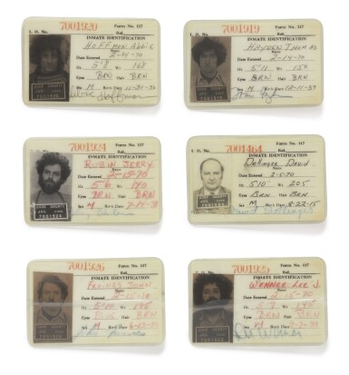 View 1. Thumbnail of Lot 125. [THE CHICAGO SEVEN]    Cook County Jail identification cards depicting six members of the Chicago Seven, anti-war activists charged in connection to anti-war protests at the 1968 Democratic National Convention.