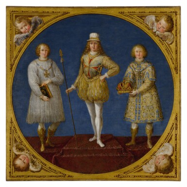 View 2. Thumbnail of Lot 665. A young prince, possibly Ferdinand Karl, Archduke of Austria and Tyrol, flanked by two attendants;  The Archangel Saint Michael, wearing a plumed helmet with the colors of Austria.