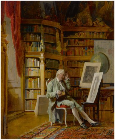 View 1. Thumbnail of Lot 7. JOHANN HAMZA | THE CONNOISSEUR IN HIS LIBRARY.