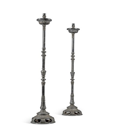 View 1. Thumbnail of Lot 28. A pair of Russian silver plated candle holders, Moscow, 1726.