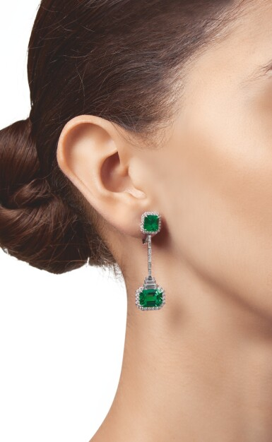 View 2. Thumbnail of Lot 432. PAIR OF EMERALD AND DIAMOND PENDANT-EARCLIPS   祖母綠配鑽石吊耳環一對.