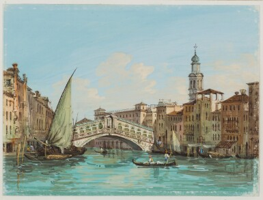 View 1. Thumbnail of Lot 539. CARLO GRUBACS | View of the Rialto Bridge, Venice.