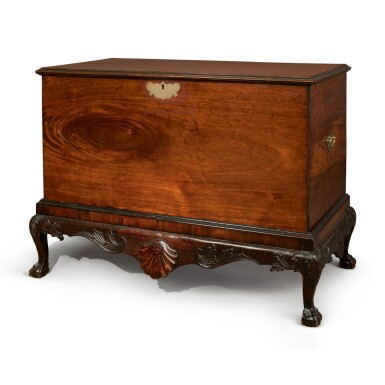 AN IRISH GEORGE II MAHOGANY CHEST ON STAND, MID-18TH CENTURY