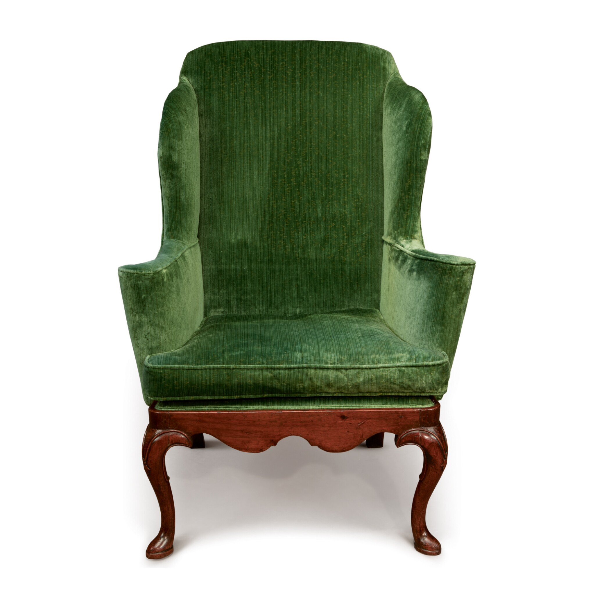 View full screen - View 1 of Lot 237. A QUEEN ANNE WALNUT WING ARMCHAIR, CIRCA 1715.