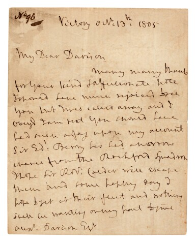 View 1. Thumbnail of Lot 98. NELSON | autograph letter signed, to Alexander Davison, 13 October 1805.