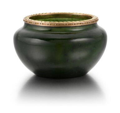 View 2. Thumbnail of Lot 49. A Fabergé two colour gold-mounted nephrite bowl, workmaster Michael Perchin, St Petersburg, 1899-1903.