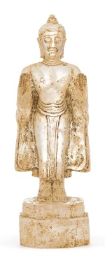 AN INSCRIBED ROCK-CRYSTAL FIGURE OF STANDING BUDDHA,  SOUTH-EAST ASIA, CIRCA 12TH-13TH CENTURY |  約十二至十三世紀 東南亞水晶菩薩立像