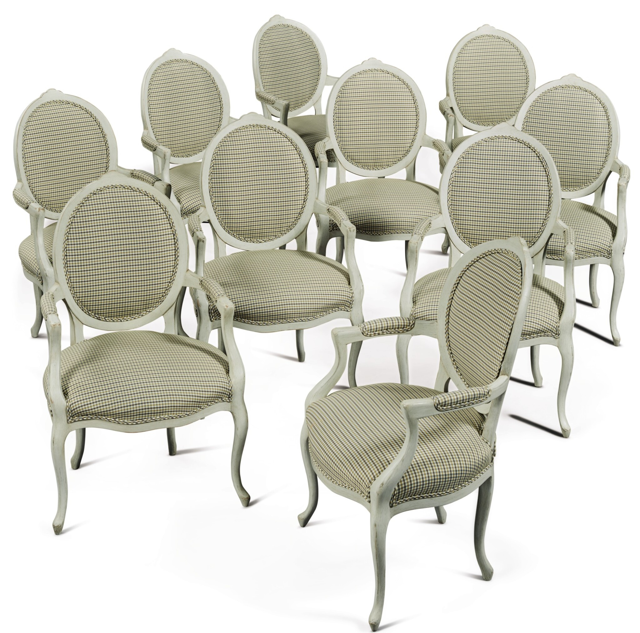 View full screen - View 1 of Lot 1528. SET OF TEN GEORGE III STYLE DINING ROOM ARMCHAIRS IN THE FRENCH TASTE.