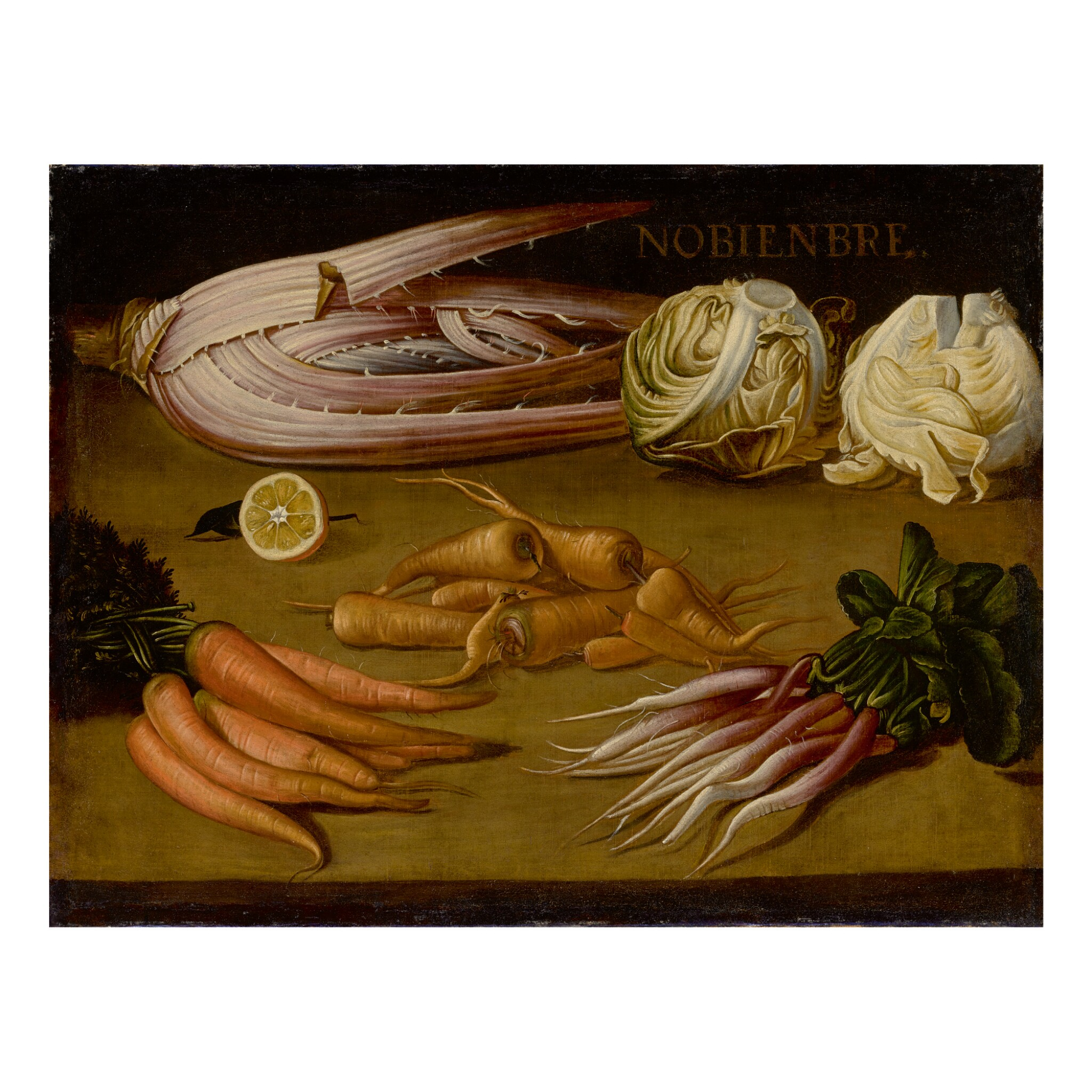 SPANISH SCHOOL, 17TH CENTURY | AN ALLEGORICAL STILL LIFE OF NOVEMBER, WITH CARROTS, PARSNIPS, FENNEL AND CABBAGE