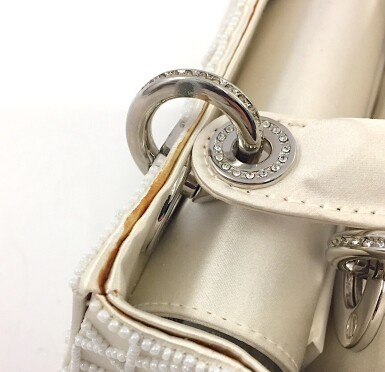 View 6. Thumbnail of Lot 750. DIOR | CREAM LADY DIOR MINI BAG IN SATIN WITH MINI PEARL BEADING CANNAGE AND CRYSTAL TRIM.