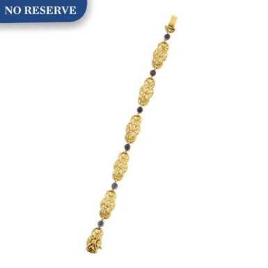 View 1. Thumbnail of Lot 47. GOLD AND SAPPHIRE BRACELET.